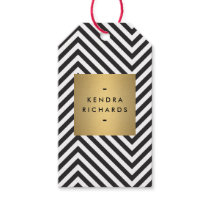Retro Black and White Pattern Gold Name Gift Tag