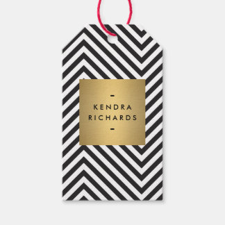Retro Black and White Pattern Gold Name Gift Tag Pack Of Gift Tags
