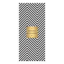 Retro Black and White Pattern Gold Name Logo 2 Rack Card
