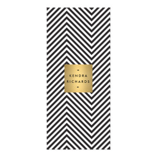 Retro Black and White Pattern Gold Name Logo 2 Rack Card Template