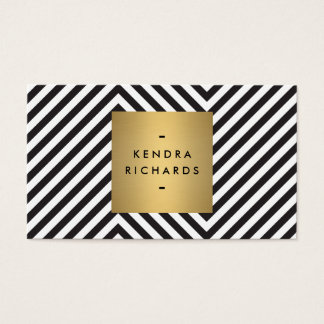 Retro Black and White Pattern Gold Name Logo Business Card