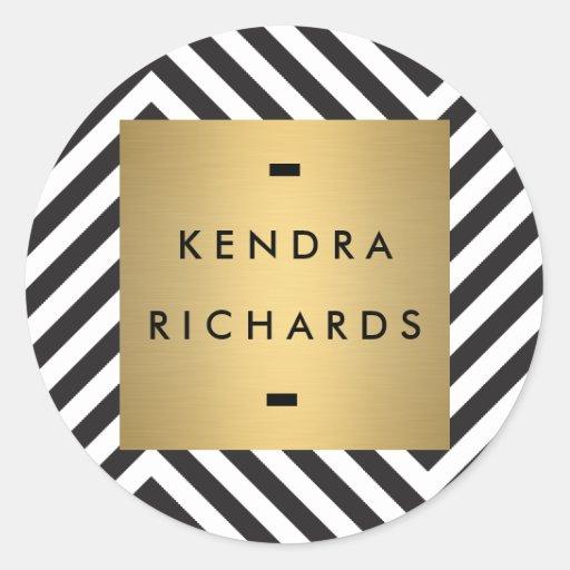 Retro Black and White Pattern Gold Name Logo Classic Round Sticker