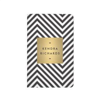 Retro Black and White Pattern Gold Name Logo Journal