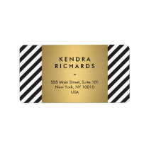 Retro Black and White Pattern Gold Name Logo Label