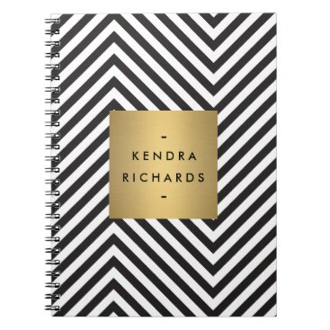 Professional Business Retro Black and White Pattern Gold Name Logo Notebook