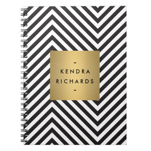 Retro Black and White Pattern Gold Name Logo Note Book