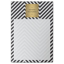 Retro Black and White Pattern Gold Name Logo Post-it Notes