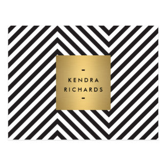 Retro Black and White Pattern Gold Name Logo Postcard