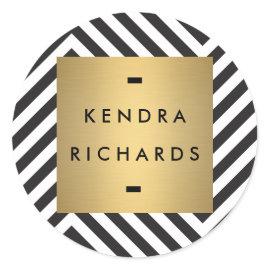 Retro Black and White Pattern Gold Name Logo Round Stickers