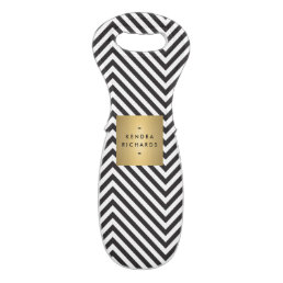 Retro Black and White Pattern Gold Name Logo Wine Bag
