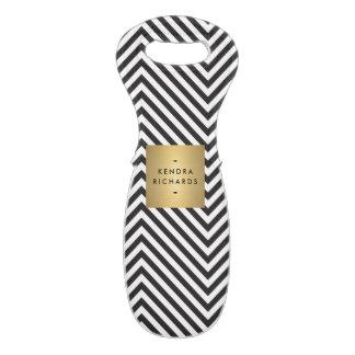 Retro Black and White Pattern Gold Name Logo Wine Bag