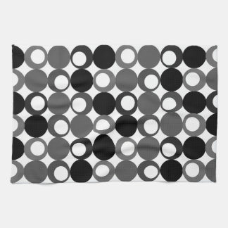 Retro Black and White Pattern Hand Towels