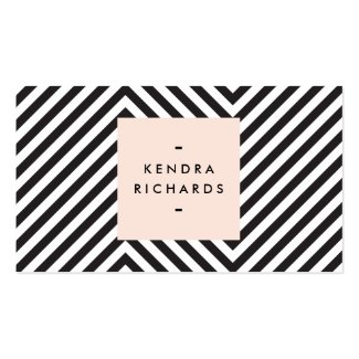 Retro Black and White Pattern Simple Name Logo Double-Sided Standard Business Cards (Pack Of 100)