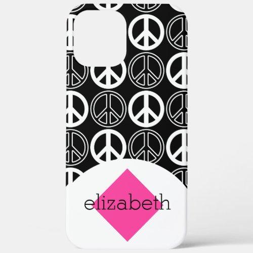 Retro Black and White Peace Sign Name Phone Case