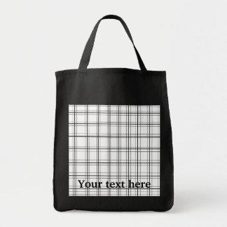 Retro black and white plaid tote bags