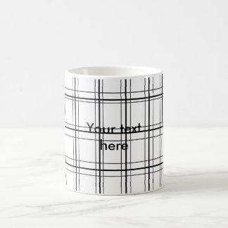 Retro black and white plaid classic white coffee mug