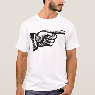 Retro Black and White Pointing Finger T-Shirt