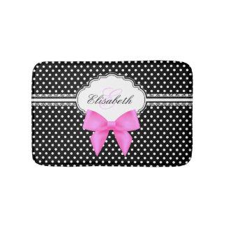 Retro black and white polka dot pink bow monogram bathroom mat