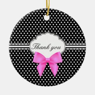 Retro black and white polka dot pink bow thank you ceramic ornament