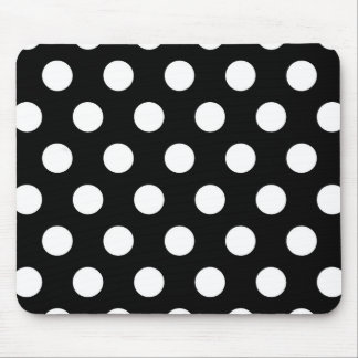 Retro Black and White Polka Dots Mouse Pads