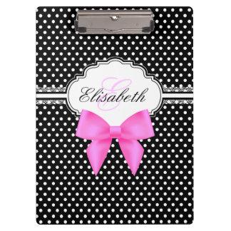 Retro black and white polka dots pink bow monogram clipboard