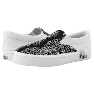 Retro black and white squares printed shoes