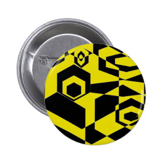 Retro Black and Yellow Abstract Pinback Button