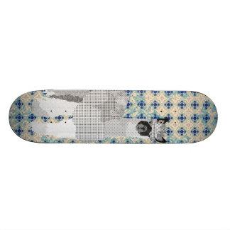 Retro Black & Blue Alpaca Skateboard