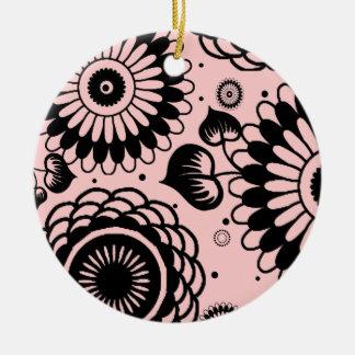 Retro Black & Blush Floral Pattern Double-Side Christmas Ornament