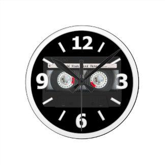 Retro Black Cassette Tape Clock