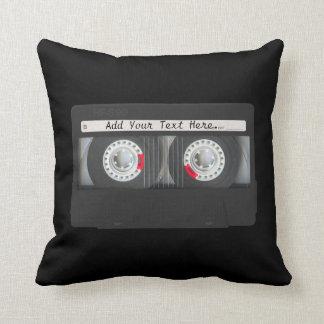 Retro Black Cassette Tape Pillows