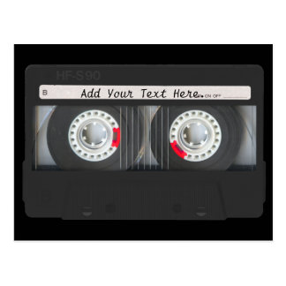 Retro Black Cassette Tape Postcard