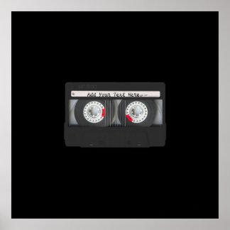 Retro Black Cassette Tape Poster