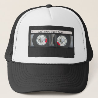 Retro Black Cassette Tape Trucker Hat