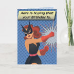 Retro Black Cat Birthday Card