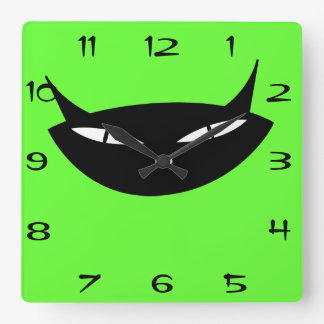 Retro black cat face with numbers square wall clock