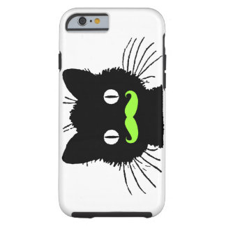 RETRO BLACK CAT FUNNY LIME GREEN MUSTACHE TOUGH iPhone 6 CASE
