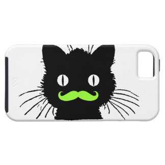 RETRO BLACK CAT FUNNY LIME GREEN MUSTACHE iPhone 5 CASE