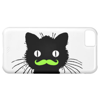RETRO BLACK CAT FUNNY LIME GREEN MUSTACHE iPhone 5C CASE