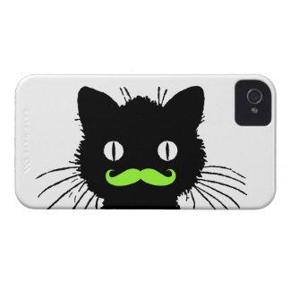 RETRO BLACK CAT FUNNY LIME GREEN MUSTACHE iPhone 4 Case-Mate CASE