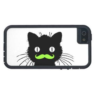 RETRO BLACK CAT FUNNY LIME GREEN MUSTACHE iPhone SE/5/5s CASE