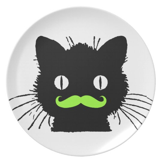 RETRO BLACK CAT FUNNY LIME GREEN MUSTACHE PLATE