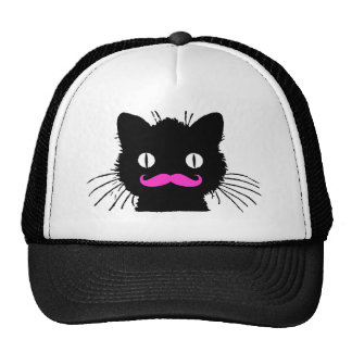 RETRO BLACK CAT FUNNY PINK MUSTACHE TRUCKER HAT
