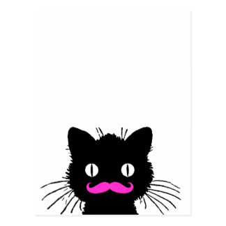 RETRO BLACK CAT FUNNY PINK MUSTACHE POSTCARD
