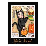 Retro Black Cat Halloween Costume Invitation