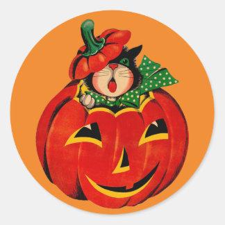 Retro Black Cat Halloween Stickers