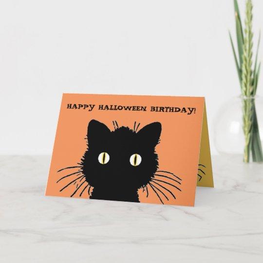 Retro Black Cat Happy Halloween Birthday Card Zazzle