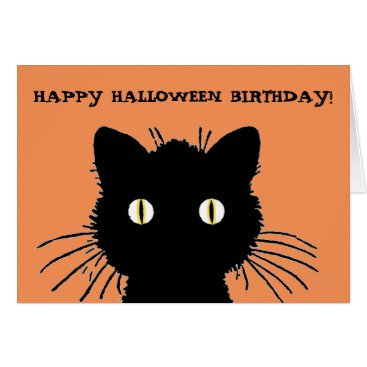 Halloween Themed Retro Black Cat Happy Halloween Birthday Card