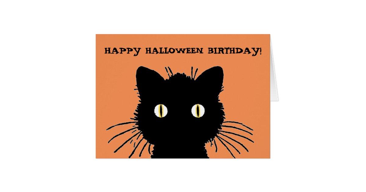 Retro Black Cat Happy Halloween Birthday Card Zazzle Com