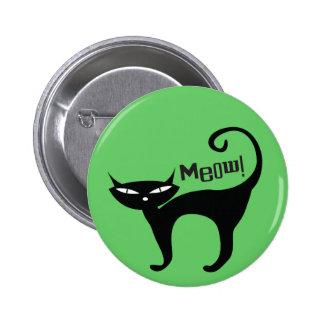 Retro Black Cat Meow Pinback Button